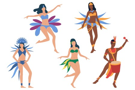 Set of Brazilian dancers. Men and women in bikini and costumes dancing and playing drum. Show concept. Vector illustration can be used for topics like festival, samba, Rio