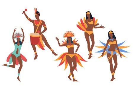 Set of carnival dancers. Dark skinned man and women in bikini and costumes dancing and playing drum. Show concept. Vector illustration can be used for topics like festival, carnival, Brazil Illustration