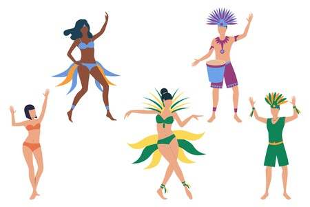 Set of people celebrating carnival. Men and women in bikini and costumes dancing and playing drum. Show concept. Vector illustration can be used for topics like festival, party, Brazil