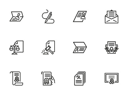 Legal documents line icon set. Passport, ID, visa, diploma. Document concept. Can be used for topics like certificate, human rights, permission 向量圖像