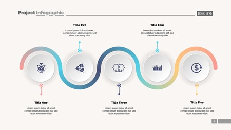Diasjabloon voor procesdiagram in vijf stappen. Zakelijke gegevens. Vooruitgang, diagram, ontwerp. Creatief concept voor infographic, rapport, presentatie. Kan worden gebruikt voor onderwerpen als workflow, marketing, management Vector Illustratie