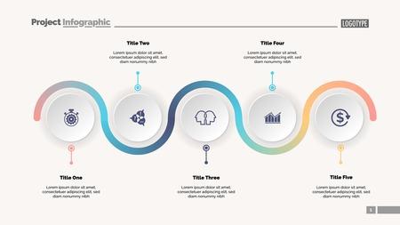 Plantilla de diapositiva de gráfico de proceso de cinco pasos. Datos comerciales. Progreso, diagrama, diseño. Concepto creativo para infografía, informe, presentación. Se puede utilizar para temas como flujo de trabajo, marketing, gestión. Ilustración de vector