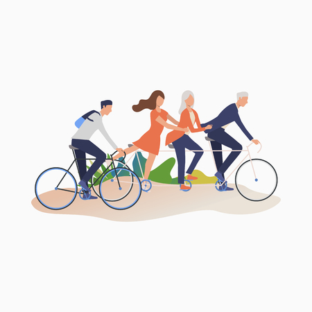 Friends enjoying cycling cartoon illustration. Men and women riding bikes. Leisure concept. Vector illustration can be used for topics like outdoor activities, summer, family