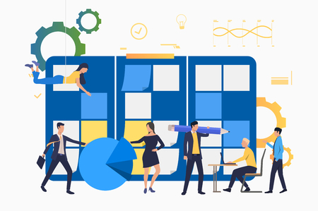 Professionals working in office. People holding pencil, working on laptop, sticking notes. Business concept. Vector illustration can be used for topics like team, teamwork, scrum meeting 向量圖像