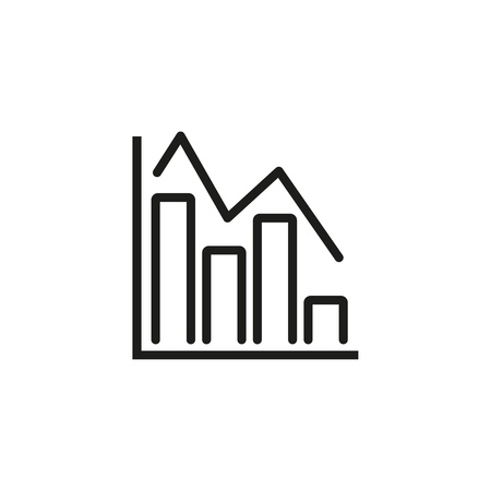 Linear function and bars line icon. Diagram, analysis, statistics. Charts and graphs concept. Vector illustration can be used for topics like business, finance, marketing