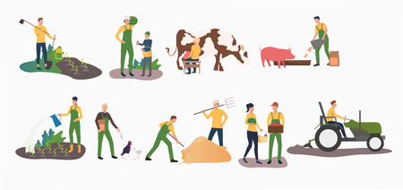 Set of time farming activities. People gardening, ranching cattle, harvesting. Farming concept. Vector illustration can be used for topics like agriculture, horticulture, cultivation Stock Vector - 123746422