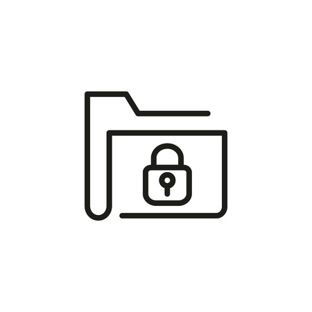 Confidential information line icon. Folder, lock, archive. Personal data concept. Can be used for topics like database, access, privacy