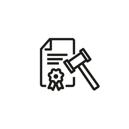 Icono de línea de documento legal. Informe de investigación, martillo, decisión. Concepto de ley. Se puede utilizar para temas como defensa, subasta, juicio.