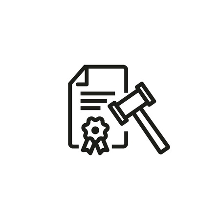 Legal document line icon. Investigation report, gavel, decision. Law concept. Can be used for topics like defend, auction, trial