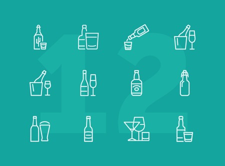 Bottles of alcohol line icon set. Glass, shot, flute, spirits. Alcoholic drinks concept. Can be used for topics like restaurant, bar, pub, addiction Stock Vector - 124423829