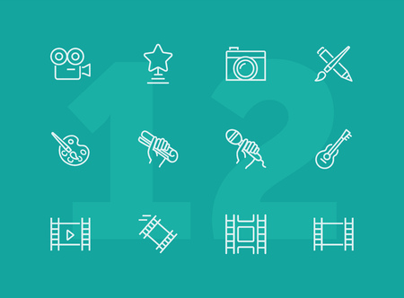 Creativity line icon set. Camera, guitar, movie. Leisure concept. Can be used for topics like entertainment, vocation, hobby Imagens - 124423849