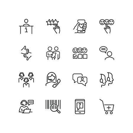 Customer service line icon set. Call center, positive or negative evaluation. Support concept. Can be used for topics like survey, review, feedback Vecteurs