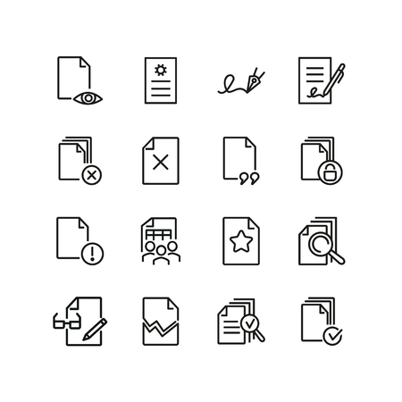 Documents line icon set. File, print, torn, lock, signature. Paperwork concept. Can be used for topics like agreement, business, approved document Ilustração Vetorial