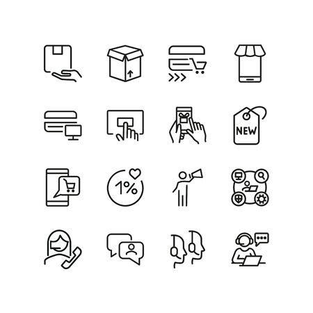 Shopping services line icon set. Delivery, gift, cart, credit card. Commerce concept. Can be used for topics like retail store, promotion, sale, customer support