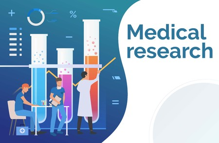Scientists working in laboratory vector illustration. Biotechnology, analysis, pharmacy. Medical research concept. Creative design for presentations, templates, banners Vector Illustration