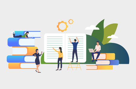 Group of people working on books. Authors, brainstorming, printing house, library. Business concept. Vector illustration for poster, presentation, new project Ilustração