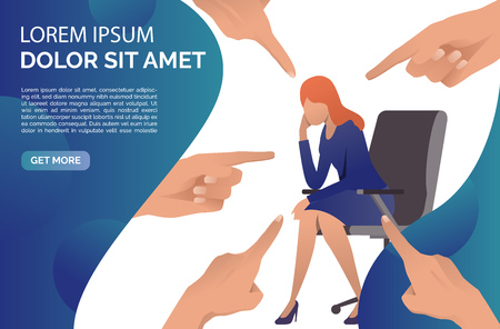 People blaming and pointing at business woman. Accusation, guilty, failure concept. Presentation slide template. Vector illustration can be used for topics like business, mistake, problem Vektorové ilustrace