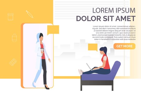 Woman using laptop and female doctor in smartphone vector illustration. Online doctor, medical service, online consultancy. Medical app concept. For presentations, websites, banners Ilustracja