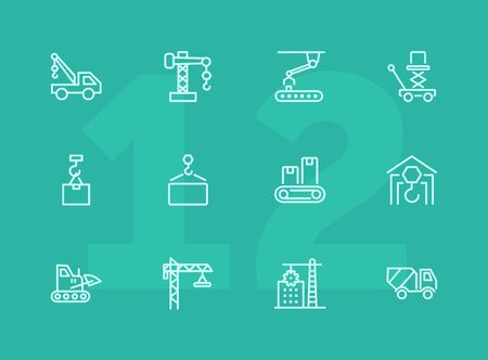 Industry machines line icon set. Concrete mixer, crane, site. Machinery concept. Can be used for topics like construction, robotic science, technology Ilustração