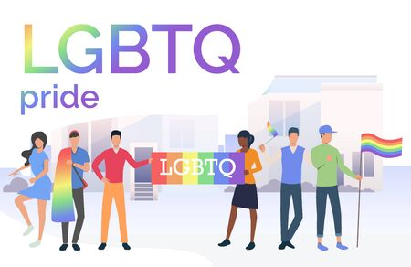 People holding flags in LGBTQ parade in city. Diversity, discrimination, freedom concept. Vector illustration can be used for topics like tolerance, homophobia, social rights