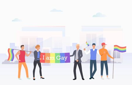 People holding I am Gay banner in city. Diversity, discrimination, freedom concept. Vector illustration can be used for topics like tolerance, homophobia, social rights Illustration