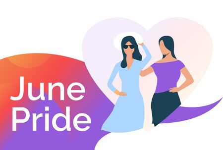 Lesbian couple in heart and June pride. Diversity, discrimination, love concept. Presentation slide template. Vector illustration for topics like tolerance, homophobia, social rights Illustration