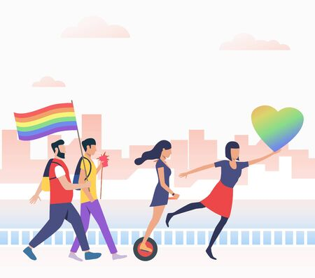 Men and women in pride parade. Diversity, discrimination, freedom concept. Vector illustration can be used for topics like tolerance, homophobia, social rights