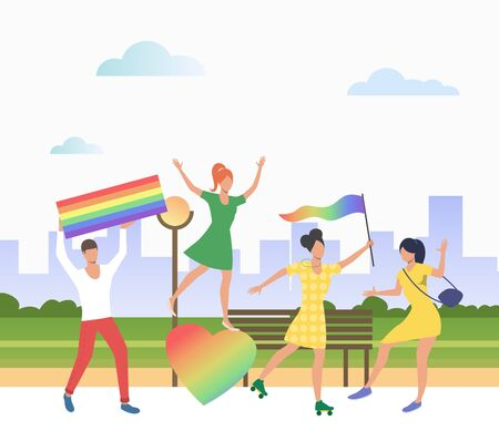People holding lgbt flags in pride parade. Diversity, discrimination, freedom concept. Vector illustration can be used for topics like tolerance, homophobia, social rights