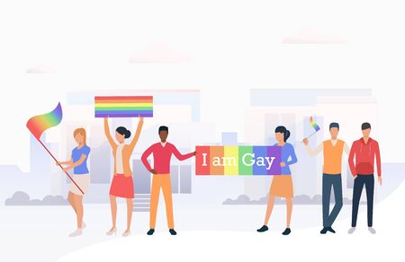 People holding LGBTQ flags and I am Gay banner in parade. Diversity, discrimination, freedom concept. Vector illustration can be used for topics like tolerance, homophobia, social rights Illustration