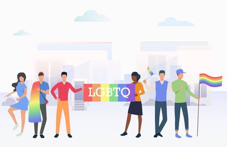 People holding LGBTQ flags in pride parade in city. Diversity, discrimination, freedom concept. Vector illustration can be used for topics like tolerance, homophobia, social rights