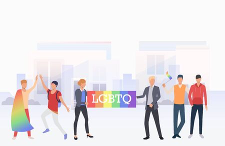 People in LGBTQ parade in city. Diversity, discrimination, freedom concept. Vector illustration can be used for topics like tolerance, homophobia, social rights