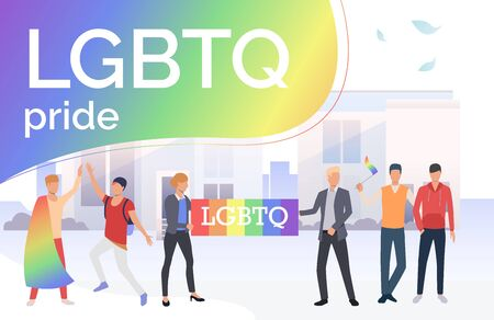 People taking part in LGBTQ pride parade in city. Diversity, discrimination, freedom concept. Vector illustration can be used for topics like tolerance, homophobia, social rights Illustration