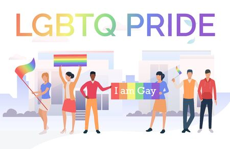 People with flags in LGBTQ parade in city. Diversity, discrimination, freedom concept. Vector illustration can be used for topics like tolerance, homophobia, social rights