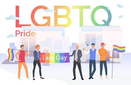 People with LGBTQ flags in pride parade in city. Diversity, discrimination, freedom concept. Vector illustration can be used for topics like tolerance, homophobia, social rights Illustration