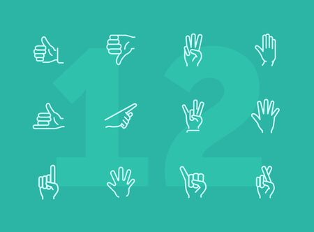 Gestures line icon set. Like, dislike, finger crossed. Gesturing concept. Can be used for topics like hand language, signs, communication Stock Illustratie
