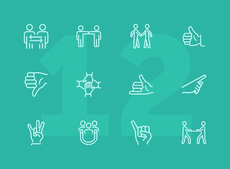 Gesturing line icon set. Handshake, like, thumb down. Body language concept. Can be used for topics like dealing, customer feedback, communication Фото со стока - 124595731