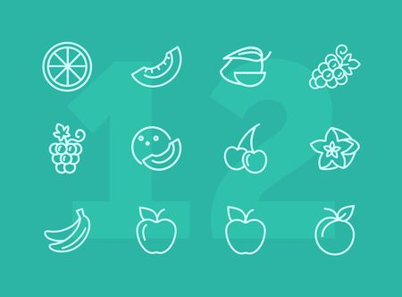 Fruits line icons. Set of line icons on white background. Grapes, cherry, apple. Healthy food concept. Vector illustration can be used for topics like grocery, shop, market Stock Vector - 124595807