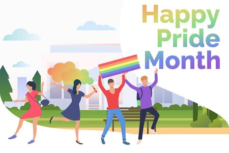Cheerful people in happy pride parade. Diversity, discrimination, freedom concept. Presentation slide template. Vector illustration for topics like tolerance, homophobia, social rights