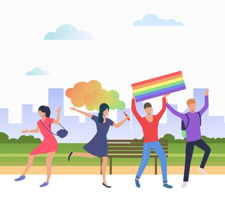 Cheerful people in pride parade. Diversity, discrimination, freedom concept. Vector illustration can be used for topics like tolerance, homophobia, social rights Illustration