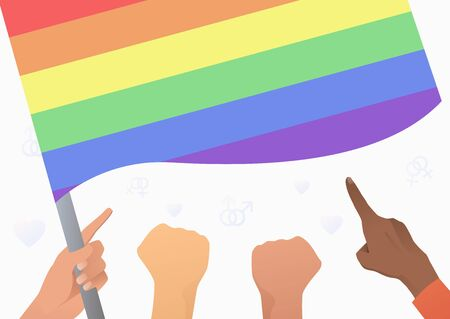 Diverse people hands holding and pointing at LGBT flag. Diversity, discrimination, freedom concept. Vector illustration can be used for topics like tolerance, homophobia, social rights