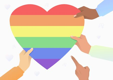Diverse people hands holding LGBT heart. Diversity, discrimination, freedom concept. Vector illustration can be used for topics like tolerance, homophobia, social rights