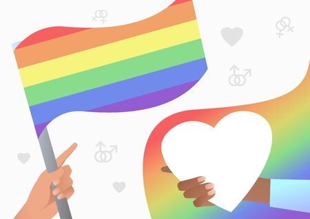 Hands holding LGBT flag and heart. Diversity, discrimination, freedom concept. Vector illustration can be used for topics like tolerance, homophobia, social rights Illustration