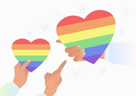 Hands holding LGBT hearts. Diversity, discrimination, freedom concept. Vector illustration can be used for topics like tolerance, homophobia, social rights