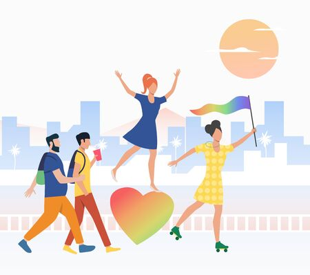 Happy people in pride parade. Diversity, discrimination, freedom concept. Vector illustration can be used for topics like tolerance, homophobia, social rights