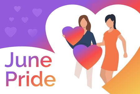 Lesbian couple embracing and holding hearts. Diversity, discrimination, love concept. Presentation slide template. Vector illustration for topics like tolerance, homophobia, social rights Illustration