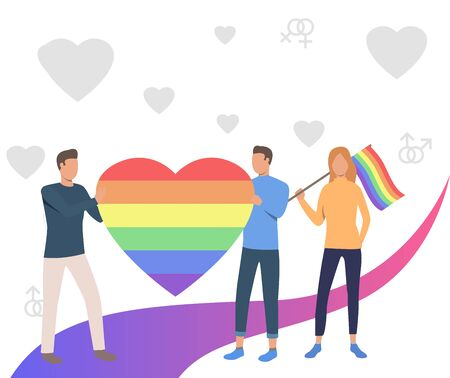 People holding rainbow heart and flag. Community, pride, LGBT symbol. LGBT parade concept. Vector illustration can be used for topics like proud, diversity, love, equality Illustration