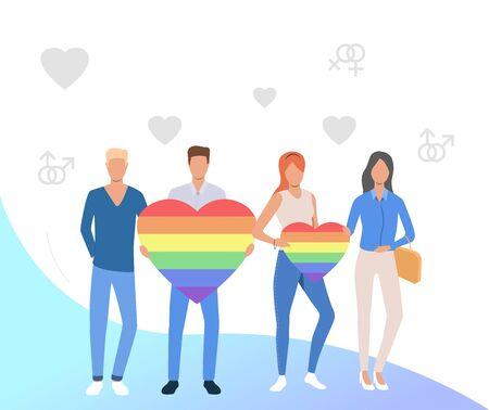 People holding rainbow hearts. Gay and lesbian couple with LGBT symbols. Homosexuality concept. Vector illustration can be used for topics like LGBTQ, pride, diversity Illustration