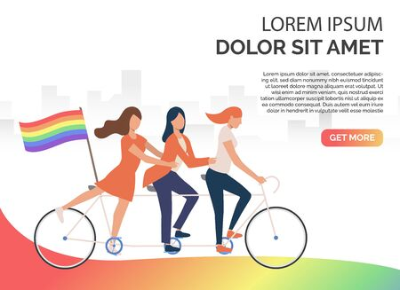 Three girls riding tandem bike with rainbow flag. Women, lesbian, LGBT community. Homosexuality concept. Vector illustration can be used for presentation slides, landing pages, posters