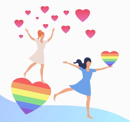Two girls dancing with pink and rainbow heart. Gay couple with LGBT symbols. Homosexuality concept. Vector illustration can be used for topics like LGBTQ pride, wedding, diversity, love