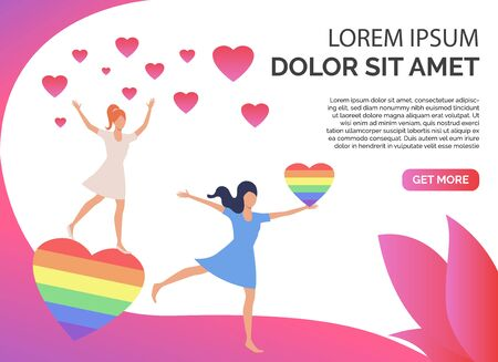 Two girls dancing with rainbow and pink hearts. Lesbian couple with LGBTQ symbols. Homosexuality concept. Vector illustration can be used for presentation slides, landing pages, posters Illustration